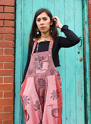 Sarah Nicola Louise - Adorned Fair Trade Dungarees, Adorned Mismatch Sun Moon Earrings - Endless Scroll - Bodega