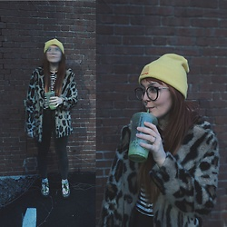 Samantha Elise - Moodswings Beanie, Firmoo Glasses, Primark Faux Fur Jacket, Primark High Waist Skinny Jeans, Iron Fist Clothing Creepers, Forever 21 Stripe Polo - Green Juice