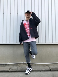 ★masaki★ - Off! Band Cap, Dickies Hoodie Jacket, Wacky Wacko Long Sleeve Tee, Levi's® Vintage 615, Nike Air Monarch - Vintage Jeans