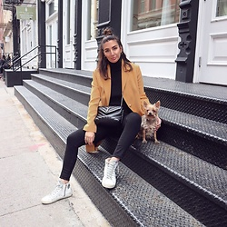 Alyssa Melendez - Golden Goose Sneakers, Articles Of Society Black High Waist Denim, Saint Laurent Black Loulou Bag, Primark Coat - Sunday casual