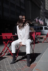 Alyssa Melendez - Inspr White Sheer Top, Wash Lab Cropped Denim, Yeezy Booties - All white chic