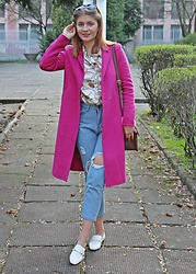 Aleksandra Siara - Reserved Coat, Shein Jeans, Zara Shoes - Pink coat and white loafers