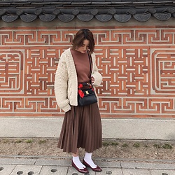 Chihiro_04.10 - Salvatore Ferragamo Vintage Bag, Repetto Shoes, Zara Skirt - With Hanok Wall