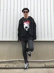 ★masaki★ - Aline Body Alice Glass, H&M Oversized Denim Jacket, Kill City Skinny Jeans, Vans Sk8hi - Alice Glass