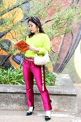 Kristen Tanabe - H&M Neon Green Cable Knit Sweater, Free People Magenta Velvet Pants, Prezzo Beaded Purse, Manolo Blahnik Green Velvet Heels, Vintage Silver And Yellow Chain Belt, Dolce & Gabbana Silver Sunglasses, Baublebar Statement Earrings - Butterflies & Literature