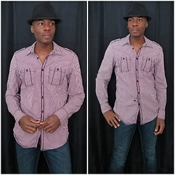 Thomas G - Faded Glory Fedora, Inc International Concepts Button Down Casual, Levi's 511 Strauss & Co - INC International Concepts