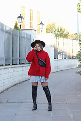Claudia Villanueva - Asos Hat, Stradivarius Sweater, H&M Fanny Pack, Dresslily Skirt, Dresslily Boots - Let's celebrate my birthday
