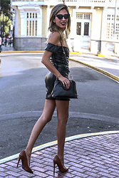 Giuliana ♡ - Zara Nude Pumps, Pretty Little Thing Black Lurex Dress, Prada Bag, Rebelle Cateye Sunnies - Black Leather