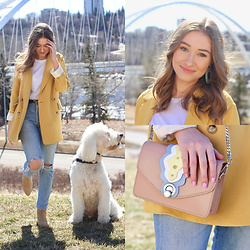 Taylor Doucette - Babaton Yellow Oversized Blazer, Citizens Of Humanity Distressed Straight Leg Jeans, Zara Gold Studded Suede Boots, Zara Studded Bag - Undrunk - FLETCHER