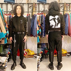 @KiD - Bauhaus Zip Up Hoodie, Ch. Zip Pants, Vivienne Westwood Cigarettes Case, Dr. Martens 3 Hole Shoes - JapaneseTrash490