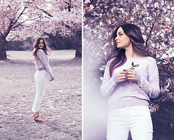 Kassy D - Kensie Jeans Crop White, Elaine Rose Sweater, Ardene Rings - Spring Blossoms
