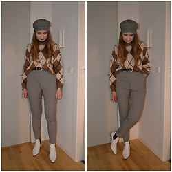 Mucha Lucha - H&M Hat, Pull&Bear Jumper, Monki Trousers, Topshop Boots - Neutral pattern mix