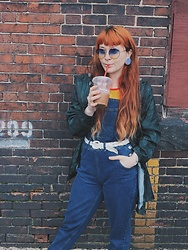 Samantha Elise - Primark Overalls, Forever 21 Halter Top, Primark Parka, Vintage Woven Belt, H&M Aviators - Overall I'd say today was good