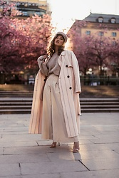 Louise Xin - Selected Femme Gold Tana Coat, Steve Madden See Thorugh Heels, Zara Wide Stripped Pants - Cherry blossom