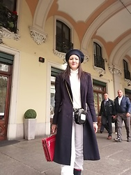 Babaluccia - Milanoo Blue Coat, Rehinard Planck Velvet Hat, Bogner Sport White Pants - Shopping in Turin city