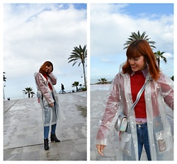 Mi Vida En Rojo - Vintage Raincoat, H&M Sweater, Zara Ankle Boots - Vintage Raincoat