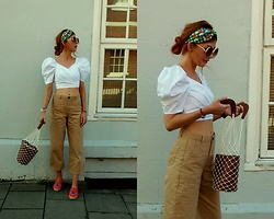 Joanna L - Prim Pants, Kenzo Shoes, Primark Net Bag, Anthropologie Headband - Net bag/ kenzo / beige and white outfit