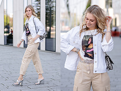 Sunnyinga - Pull & Bear Jacket, Stradivarius Shirt, Aldo Snake Bag, & Other Stories Cargo Pants, Office London Heels, Urban Outfitters Belt - Cargo Pants - Spring Must-have