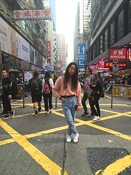 Mikey Espinosa - H&M Pink Sweater, Topshop Mom Jeans, Adidas Cloud Foam, Ralph Lauren Wallet - Simple in Hong Kong
