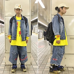 @KiD - Mizyuro Cap, Insight Denim Jacket, Alien Body Lil Peep Tee, Denim Shorts, Elephant Tribal Fabrics D Can Back Pack, Camper Bernhard Willhelm - JapaneseTrash492