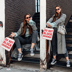 Jacky - Weill Coat, Gestuz Sweater, Levi's® Jeans, Converse Sneaker, 3.1 Phillip Lim Bag, Chimi Eyewear Sunglasses - Casual Travel Outfit for a day in Brooklyn