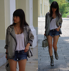Clara . - Topshop Boots, Mango Denim Jacket - Denim