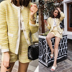 Gabrielle Bassett - Sister Jane Tweed Jacket, Sister Jane Tweed Shorts, Find Mule Sandals - Tweed