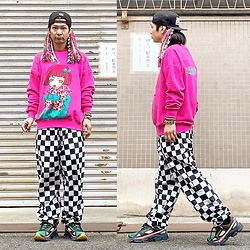 @KiD - Naughty By Nature Cap, Juetie Gokinjo Monogatari, Checker Flag Pants, Adidas Raf Simons - JapaneseTrash493