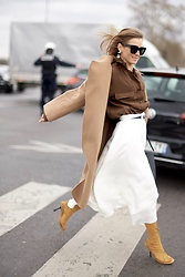 Anna Borisovna - Shop The Curated Coat, Zara Bluse, H&M Skirt, Céline Shoes - White and Brown