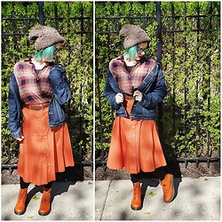 Lyndee M. - American Eagle Taupe Beanie, American Eagle Plaid Shirt, American Eagle Denim Jacket, Forever 21 Midi Skirt, Target Brown Belt, Dr. Martens Doc - Orange aesthetic