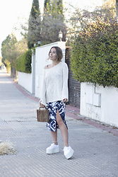 Claudia Villanueva - Zara Sweater, Primark Dress, Zara Bag, Superga Sneakers - Tie Dye Midi Dress
