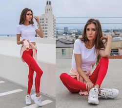 Jenny M - Forever 21 Red Yoga Pants, Fila Disruptor 2 Sneakers - DON'T SWEAT IT // thehungarianbrunette.com