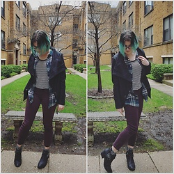 Lyndee M. - American Eagle Burgundy Jeans, American Eagle Cut Out Booties, Forever 21 Striped Tee, H&M Green Plaid Shirt, H&M Jacket - Gray may day