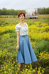 Bleu Avenue Ofbleuavenue - Chic Wish Classic Simplicity Skirt In Blue, Shein Lace Front Puff Sleeve Smocked Floral Crop Top - Picking Buttercups