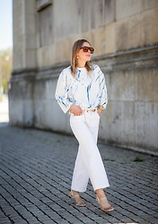 Anna Borisovna - Mango Shirt, Mango Pants, Mango Shoes, Mango Belt, Mango Sunglasses - The White Look