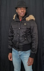 Thomas G - South Pole Faux Fur Hooded Jacket, Levi's 547 Strauss & Co, Faded Glory Fedora - Faux fur hooded jacket