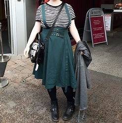 April Willis - H&M Basic Striped Dress, Killstar So Goth I'm Dead Bag, Spooky Box Club Reflective Ghost Charm, White Mountain Black Biker Boots - Green for days