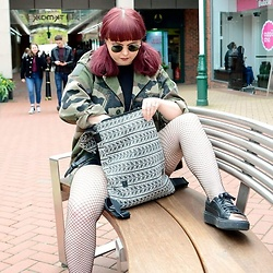 April Willis - Ebay Black Round Sunglasses, Paperchase Black & White Backpack, Puma Black & Rose Gold Trainers, Primark Fishnet Tights - Casual in camo