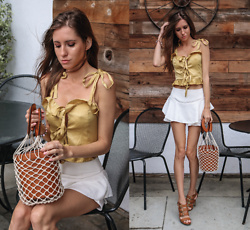 Jenny M - Tres Vu Mustard Self Tie Crop Top, Zara Flouncy Skort - ALL THE MUSTARD, PLEASE // thehungarianbrunette.com
