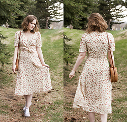 Emily S. - Adored Vintage Dress, Converse Sneakers, Unbranded Woven Bag - Prairie Dress