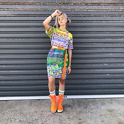 Ellie Nik - Di$Count Universe Tee Dress, Nike Air Force, Heron Preston Belt, Know Wave Socks - Universal