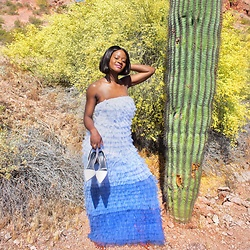 Iféoluwa Anani - Vici Collection Last Song Tulle Maxi Dress, Bershka White Block Heels - Cactus Heaven