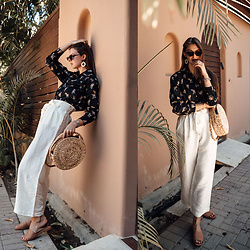 Jacky - Minimum Shirt, Rail Pants, Onvacay Bag, Flattered Shoes, Sunglasses, Pieces Earrings - Combining white pants with an animal print shirt
