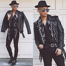 Paul Zedrich - Asos Fedora, Quay Australia X Desi Perkins High Keys, Zara Biker Leather Jacket, Zara Satin Button Up, Gucci Signature Belt, Alexander Mcqueen Silk Scarf, Asos Knee Rip Jeans, Zara Leather Boots - B L A C K is my happy color, what's yours?