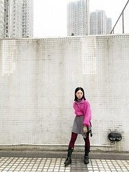 Flosmoony - Monki Top, Vintage Dress, Dr. Martens Boots - Neon Pink