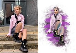 Estephanie C - H&M Pink Denim Jacket, H&M Skirt, Urban Outfitters Boots, New Look Bag - Bad guy