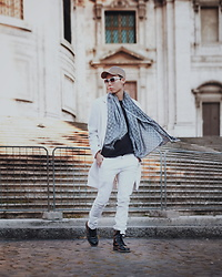 Charles Sumithio - Gucci Scarf, Fashion Tv Fashiontv Eyewear, Dr. Martens Boots, Zara Coat - Windy Day