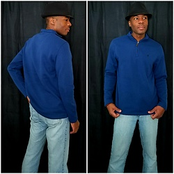 Thomas G - Faded Glory Fedora, Izod Half Zip Fleece, Calvin Klein Light Denim - Half-zip fleece (Birthday gift)