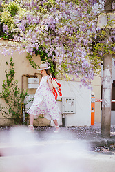 Andreea Birsan - White Midi Floral Dress, Beige Fedora Hat, Straw Bag, Scarf, Wedges - Walking into the new week like