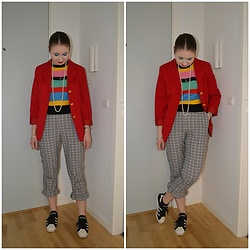 Mucha Lucha - Second Hand Blazer, Asos Top, Topshop Trousers, Adidas Sneakers - Longing for summer